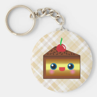 Kawaii Cake Pie Chocolate Vanilla Cream Cherry Yum Basic Round Button Key Ring