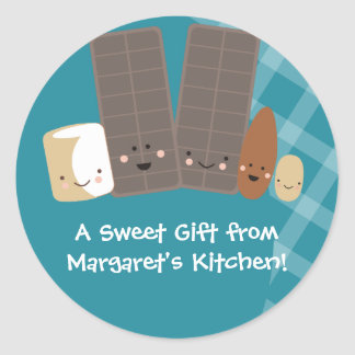 kawaii candy making marshmallows baking gift st... classic round sticker