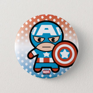 Kawaii Captain America With Shield 6 Cm Round Badge