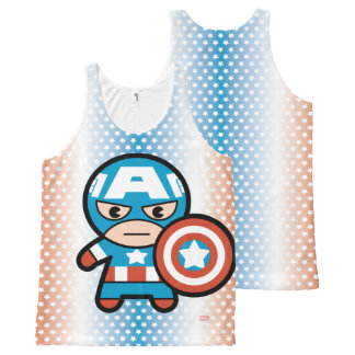 Kawaii Captain America With Shield All-Over Print Singlet