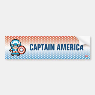 Kawaii Captain America With Shield Bumper Sticker