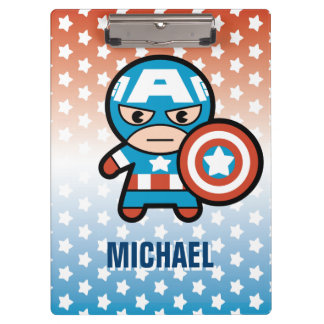 Kawaii Captain America With Shield Clipboard