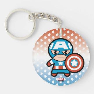 Kawaii Captain America With Shield Key Ring
