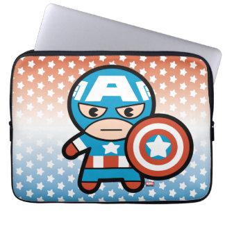 Kawaii Captain America With Shield Laptop Sleeve