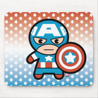 Kawaii Captain America With Shield Mouse Pad