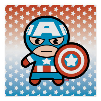 Kawaii Captain America With Shield Poster