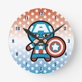 Kawaii Captain America With Shield Round Clock
