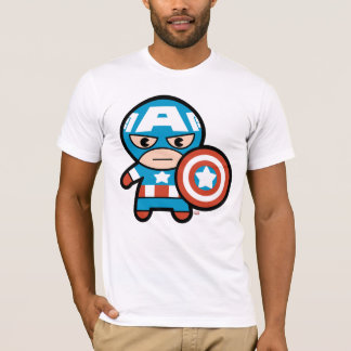 Kawaii Captain America With Shield T-Shirt