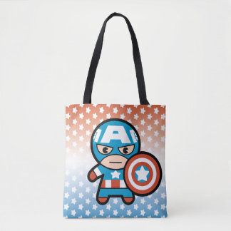 Kawaii Captain America With Shield Tote Bag