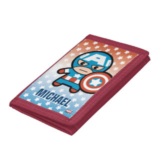 Kawaii Captain America With Shield Tri-fold Wallets