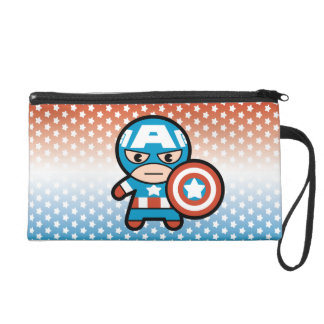 Kawaii Captain America With Shield Wristlet