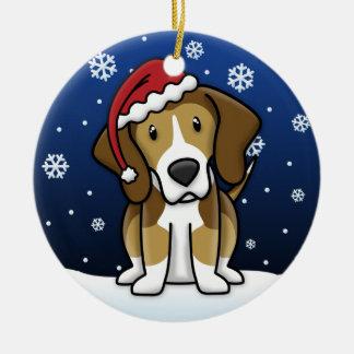 Kawaii Cartoon American Foxhound Christmas Ceramic Ornament