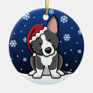 Kawaii Cartoon Black & White Cardigan Welsh Corgi Ceramic Ornament