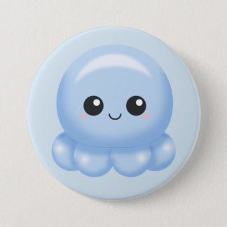 Kawaii Cartoon Blue Octopus 7.5 Cm Round Badge