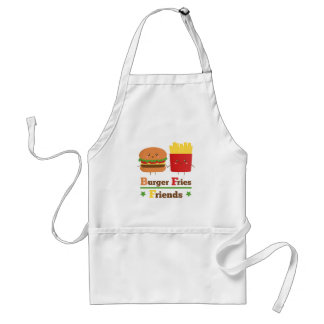 Kawaii Cartoon Burger Fries Friends BFF Apron