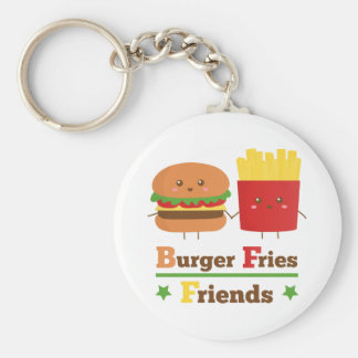 Kawaii Cartoon Burger Fries Friends BFF Key Ring