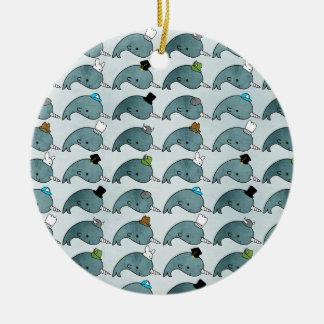 Kawaii Cartoon Grunge Narwhals with hats Ornament