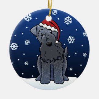 Kawaii Cartoon Kerry Blue Terrier Christmas Ceramic Ornament