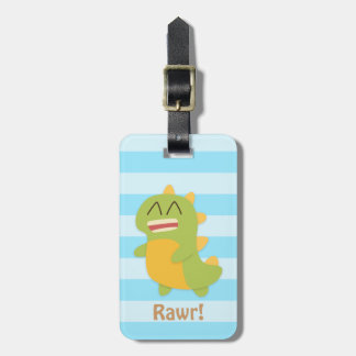 Kawaii cartoon of green and yellow Dino Luggage Tag