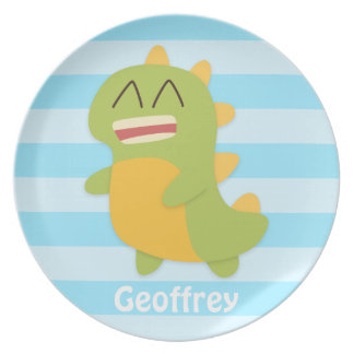 Kawaii cartoon of green and yellow Dino Plate