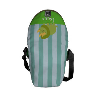 Kawaii cartoon of green and yellow Triceratops Courier Bags