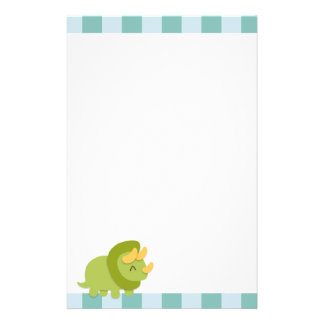 Kawaii cartoon of green and yellow Triceratops Stationery Paper