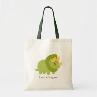 Kawaii cartoon of green and yellow Triceratops Tote Bag