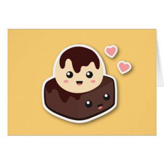 Kawaii Cartoon of Vanilla Ice Cream and Brownie Card
