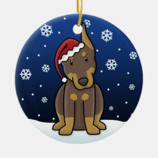 Kawaii Cartoon Red Doberman Christmas Ornament