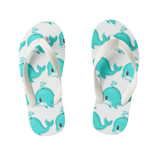 Kawaii Cartoon Teal Whale with water drips Kid's Thongs