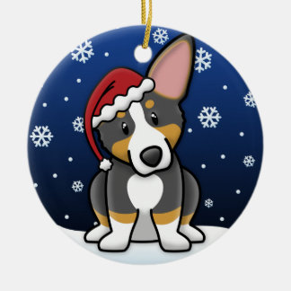 Kawaii Cartoon Tricolor Pembroke Welsh Corgi Ceramic Ornament