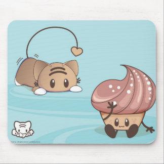 Kawaii Cat & Cake Mousepad. Mouse Pad