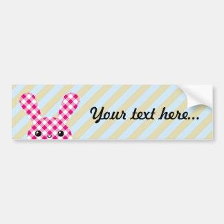 Kawaii checkered rabbit bumper stickers