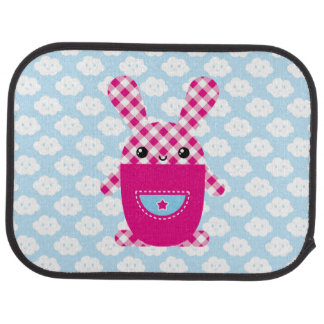 Kawaii checkered rabbit car mat