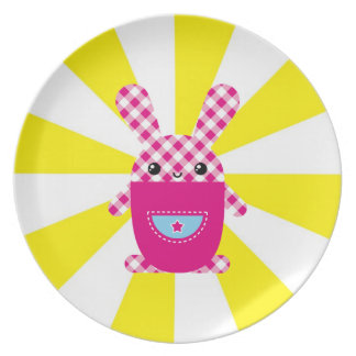 Kawaii checkered rabbit party plate