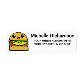 Kawaii Cheeseburger Return Address Label