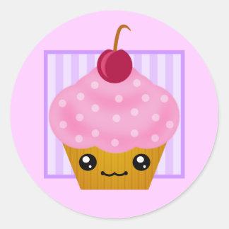 Kawaii Cherry Cupcake Round Sticker