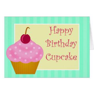 Kawaii Cherry Happy Birthday Cupcake Card