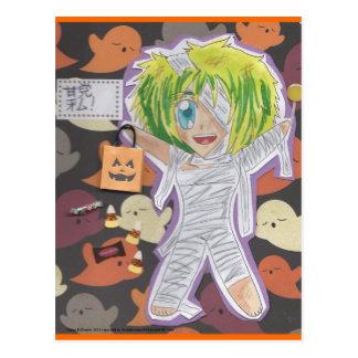 Kawaii Chibi Mummy Izumi Halloween Postcard