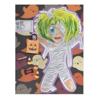 Kawaii Chibi Mummy Izumi Halloween Postcard-redo