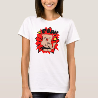 "Kawaii Chibi Ninja Kung-Fu ""POW!"" Kitty T-Shirt"