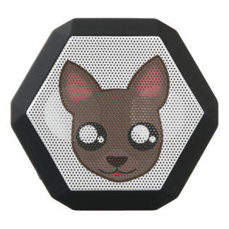 Kawaii chihuahua is watching boombotrex black bluetooth speaker
