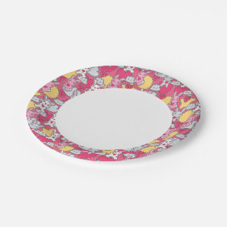 Kawaii Child Pattern with Cute Doodles 2 7 Inch Paper Plate