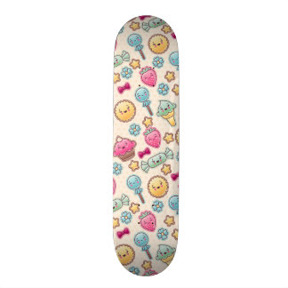 Kawaii child pattern with cute doodles skateboards