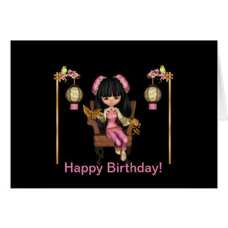 Kawaii China Doll Happy Birthday Card