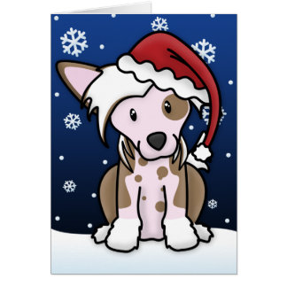 Kawaii Chinese Crested Christmas Card