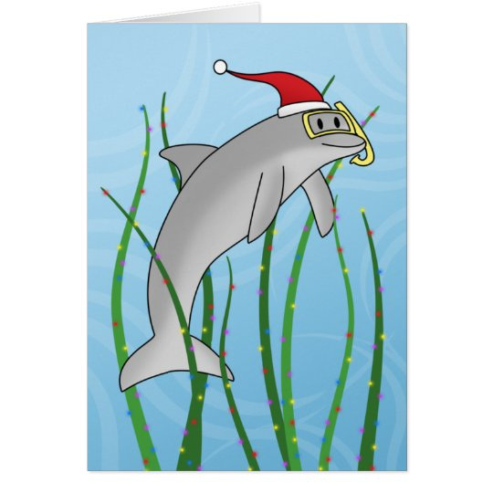 Kawaii Christmas Dolphin Christmas Card
