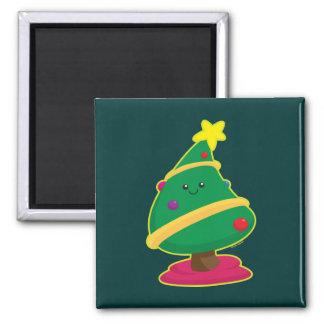 Kawaii Christmas Tree Square Magnet