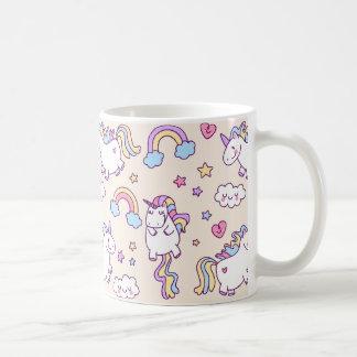 Kawaii chubby baby unicorns rainbow pattern coffee mug