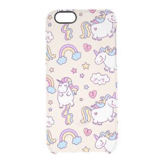 Kawaii chubby flying unicorns rainbow pattern clear iPhone 6/6S case